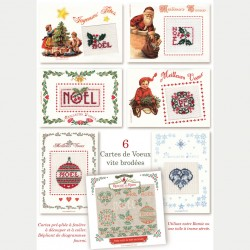 6 embroidery Chritmas cards
