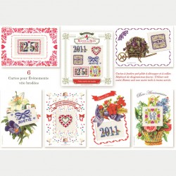 6 embroidery Celebration cards