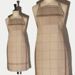 Linen apron brown squared