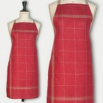 Red linen apron natural squared