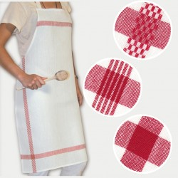 Linen apron Red border